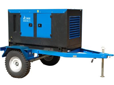 Дизельный генератор ТСС ЭД-100-Т400-1РКМ11 в кожухе на шасси с АВР